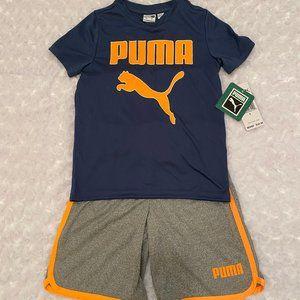 PUMA Boys 2 Pc Navy/Gray Shorts Outfit - 5